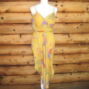 Tahari Gold Yellow Midi Dress